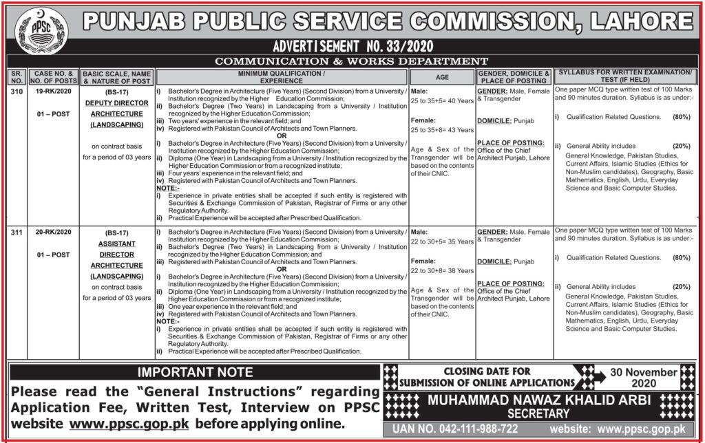 PPSC Assistant Director Jobs Advertisement No 33/2020 - Communication & Works Department