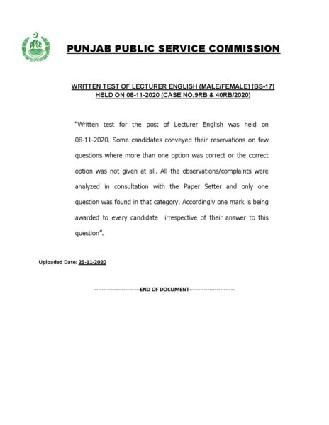 PPSC Awards One Extra Mark for Written Test of Lecturer English MaleFemale (BS-17)