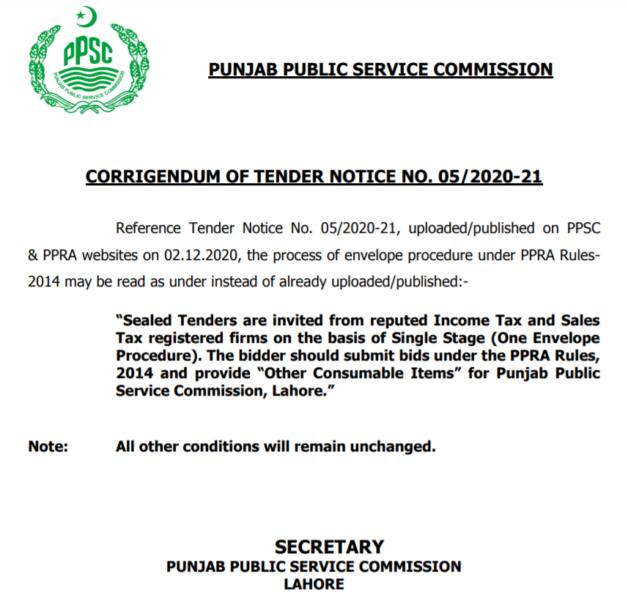 Corrigendum Of PPSC Tender Notice No. 05/2020-21