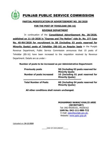 PPSC Tehsildar (BS-16) Advertisement NO 282020 - Partial Modification