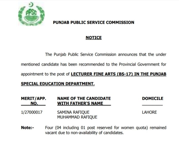 PPSC Test Final Result 2020 - Lecturer Fine Arts (BS-17) Special Education Department