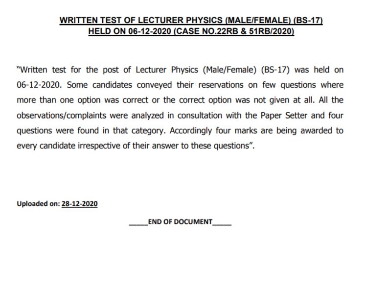 PPSC Written Test of Lecturer Physics (Male/Female) (BS-17)