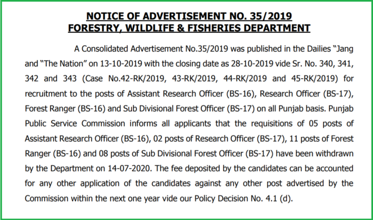 Notice of Advertisement No. 35/2019 Forestry, Wildlife & Fisheries Department