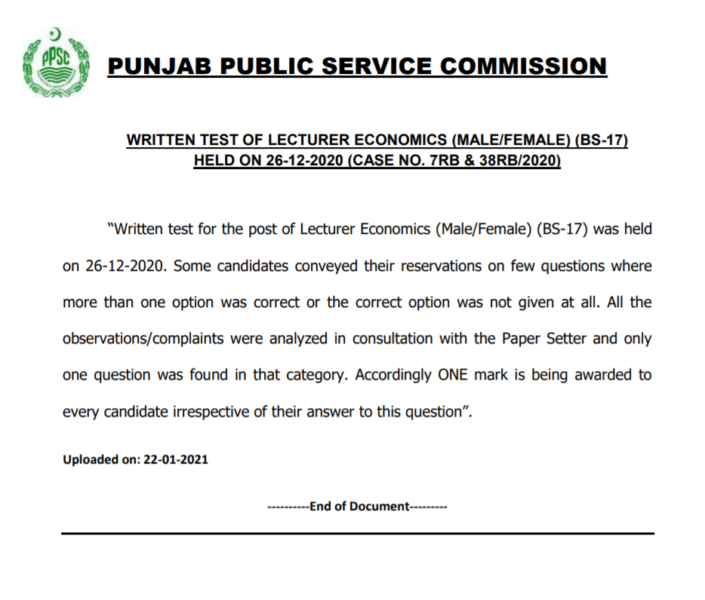 PPSC Written Test of Lecturer Economics Physics (Male/Female) (BS-17)
