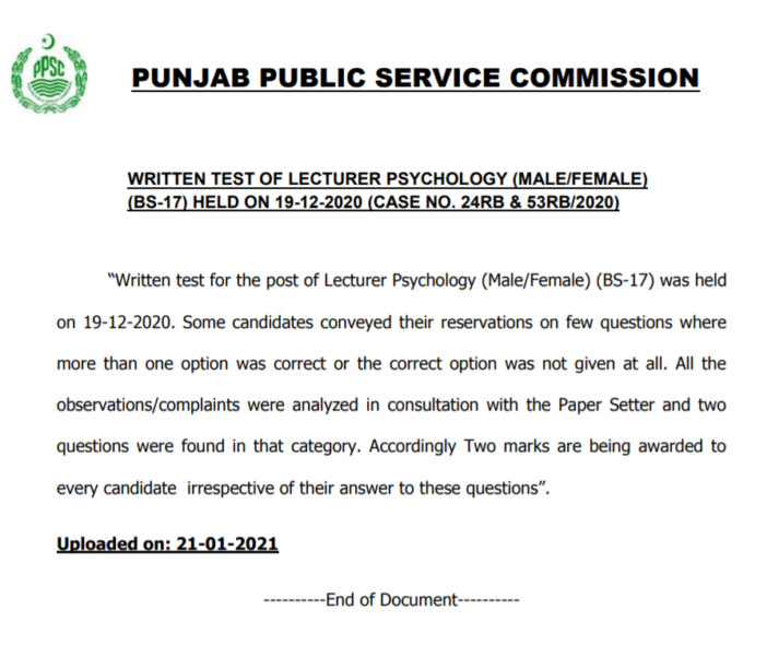 PPSC Written Test of Lecturer Psychology (Male/Female) (BS-17)