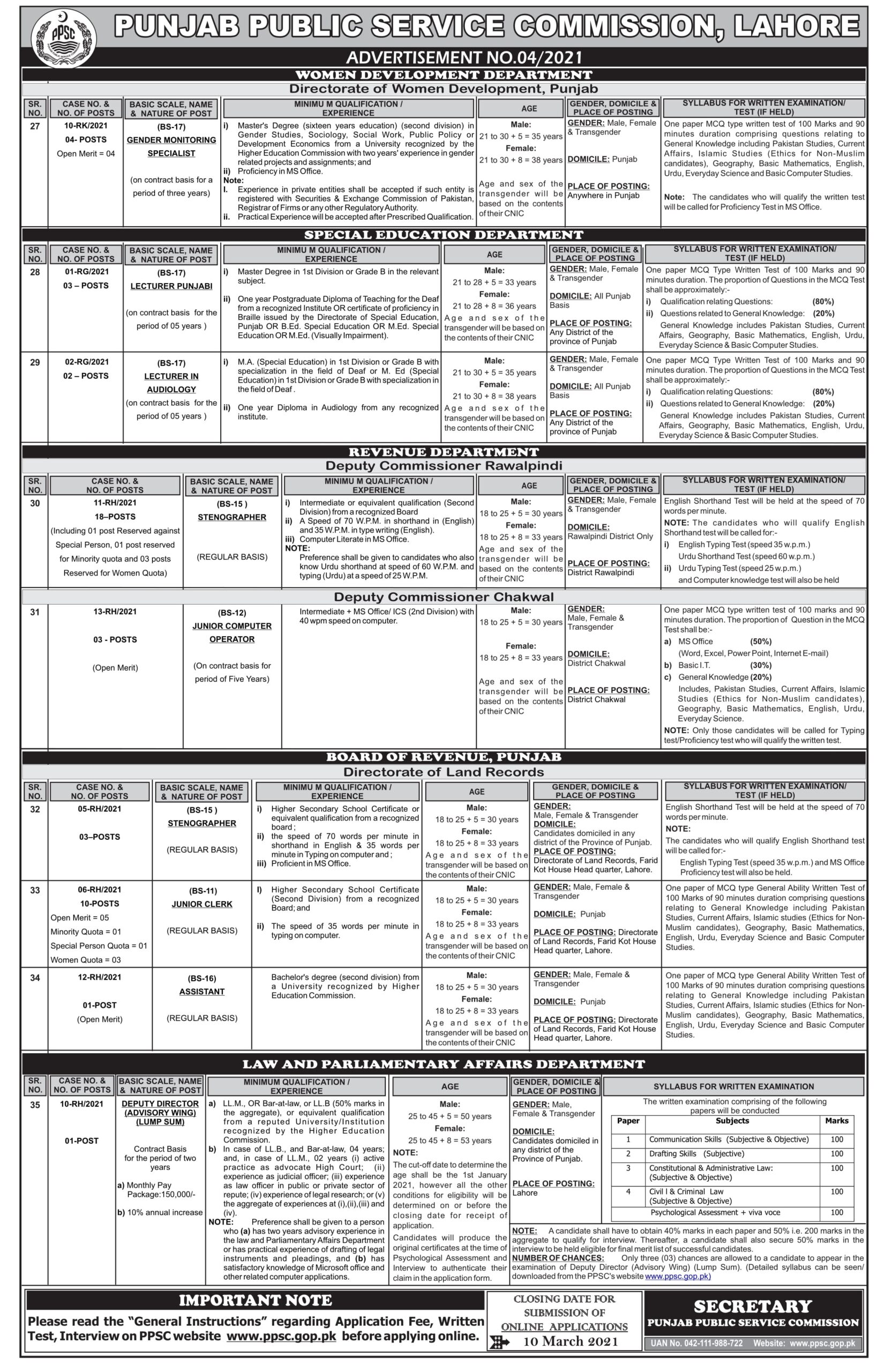 PPSC Jobs 2021 Advertisement No 4