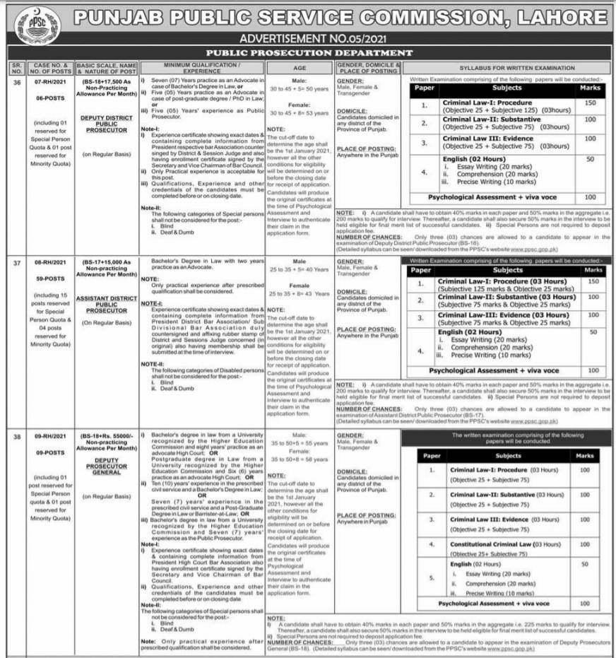 PPSC Jobs 2021 Advertisement No 5