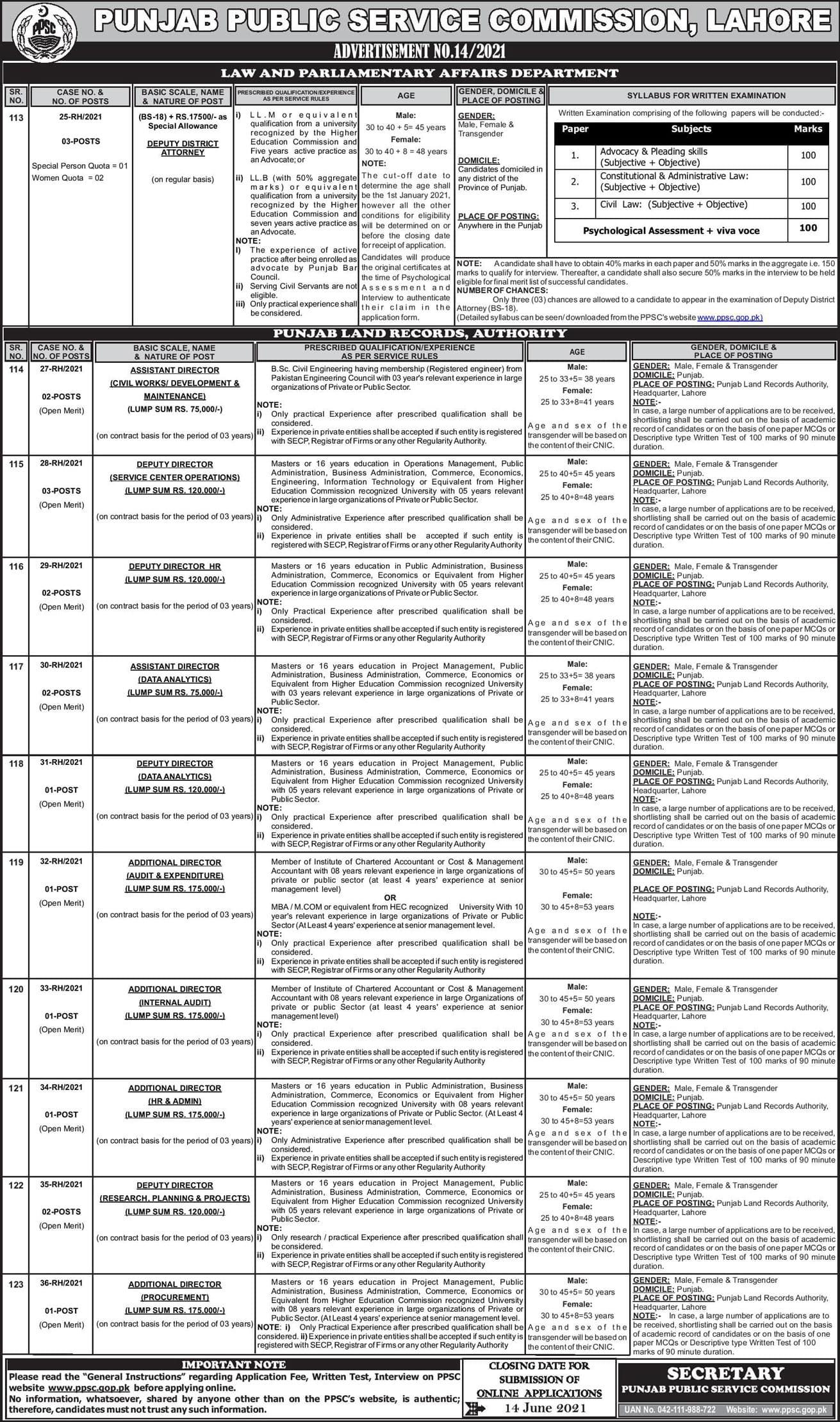PPSC Jobs 2021 Apply Online  Advertisement No 14