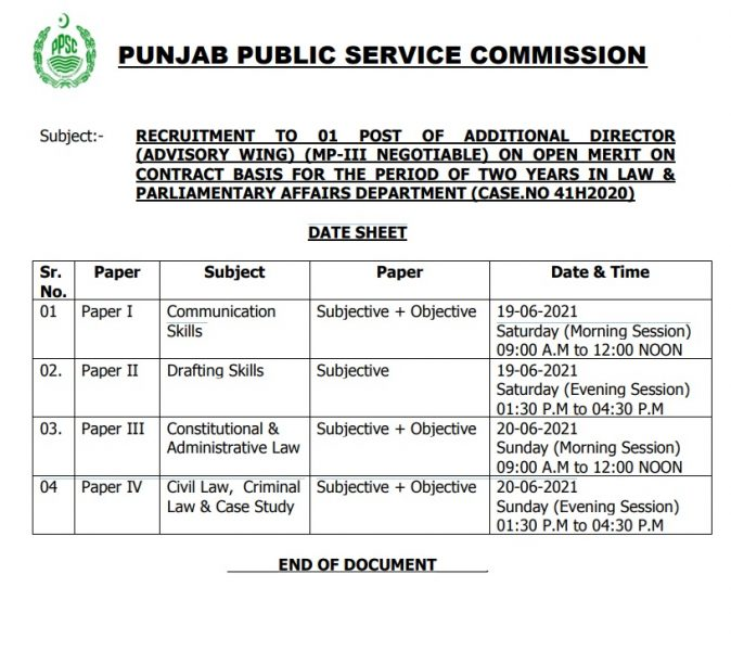 PPSC Date Sheet For Additional Director Jobs 2021