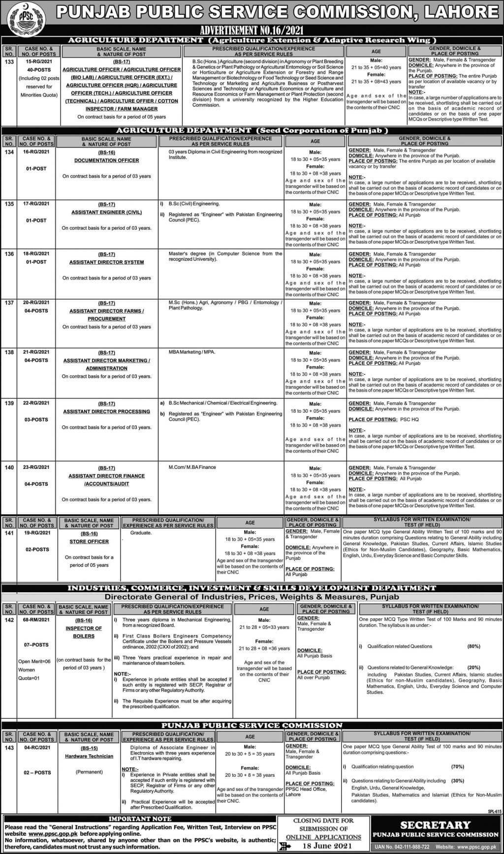 PPSC Jobs June Advertisement No 16/2021