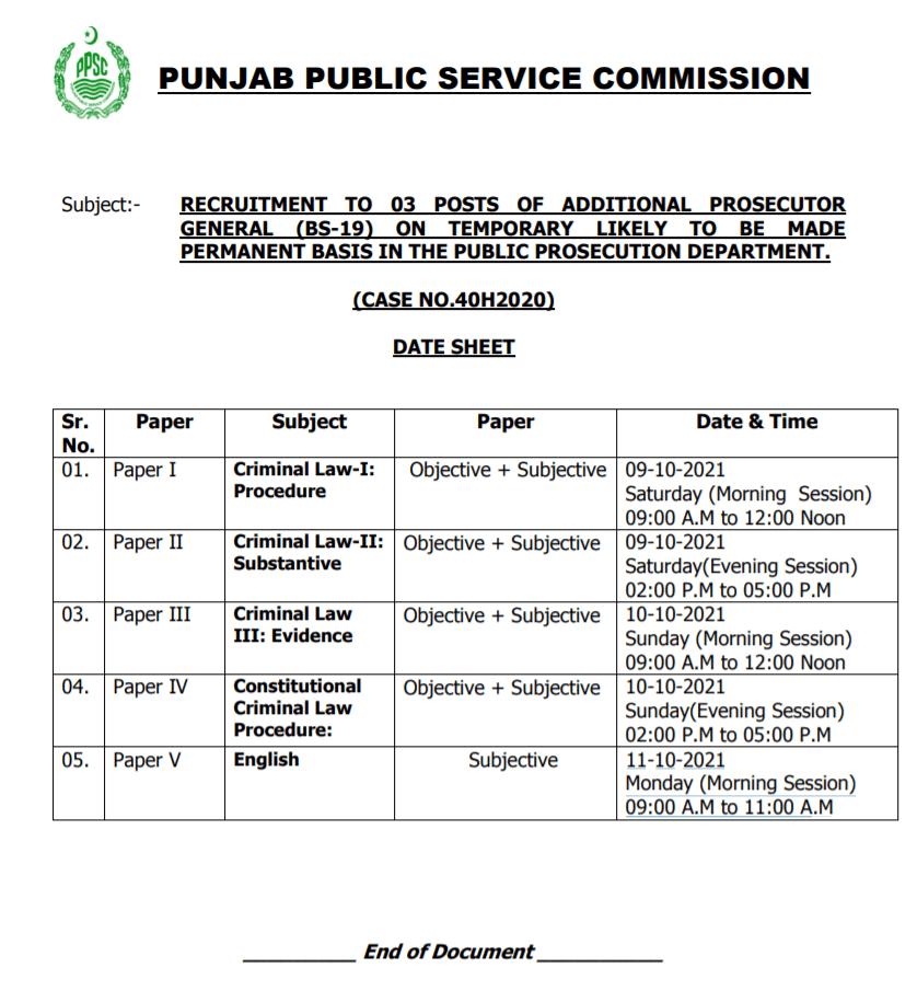 PPSC Date Sheet: Additional Prosecutor General Written Test, Syllabus 2021